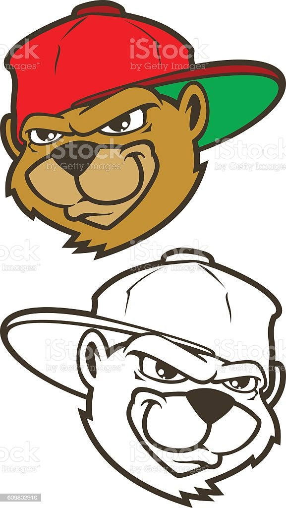 Cool brown cartoon hip hop bear character with cap. vector art illustration