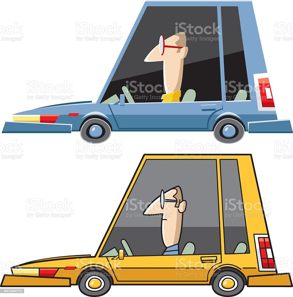 Cool car by different techniques vector art illustration