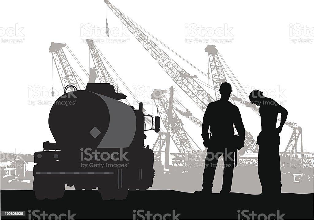 Cool Cranes Vector Silhouette royalty-free stock vector art