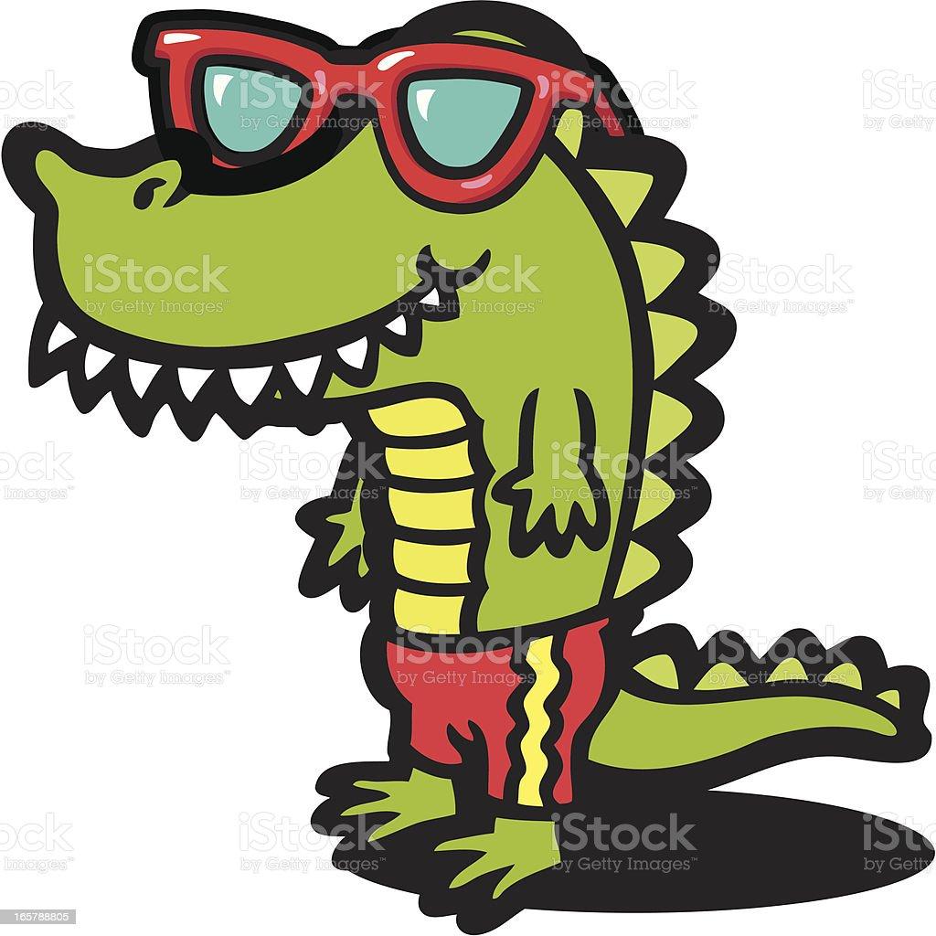 Cool Croc vector art illustration