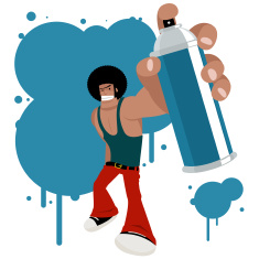 Cool Graffiti Afro Artist With Spray Paint Can And Ink vector art illustration