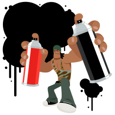 Cool Graffiti Artist With Spray Paint Can And Ink vector art illustration