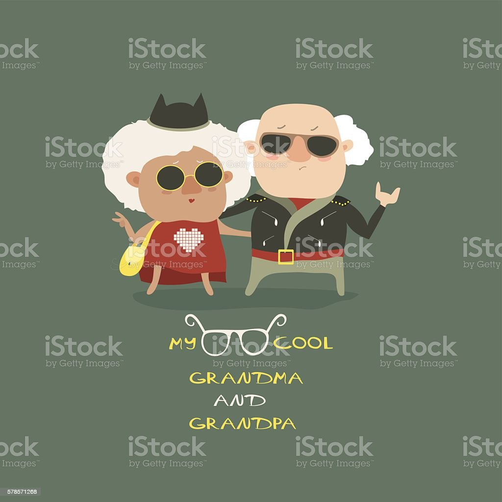 Cool grandma and grandpa wearing in leather jacket vector art illustration