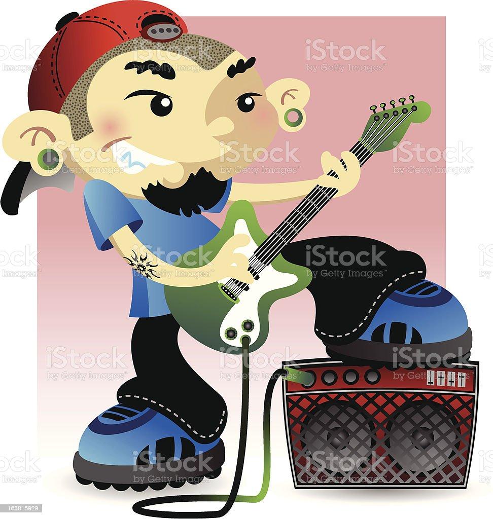 Cool Guy Playing Guitar vector art illustration