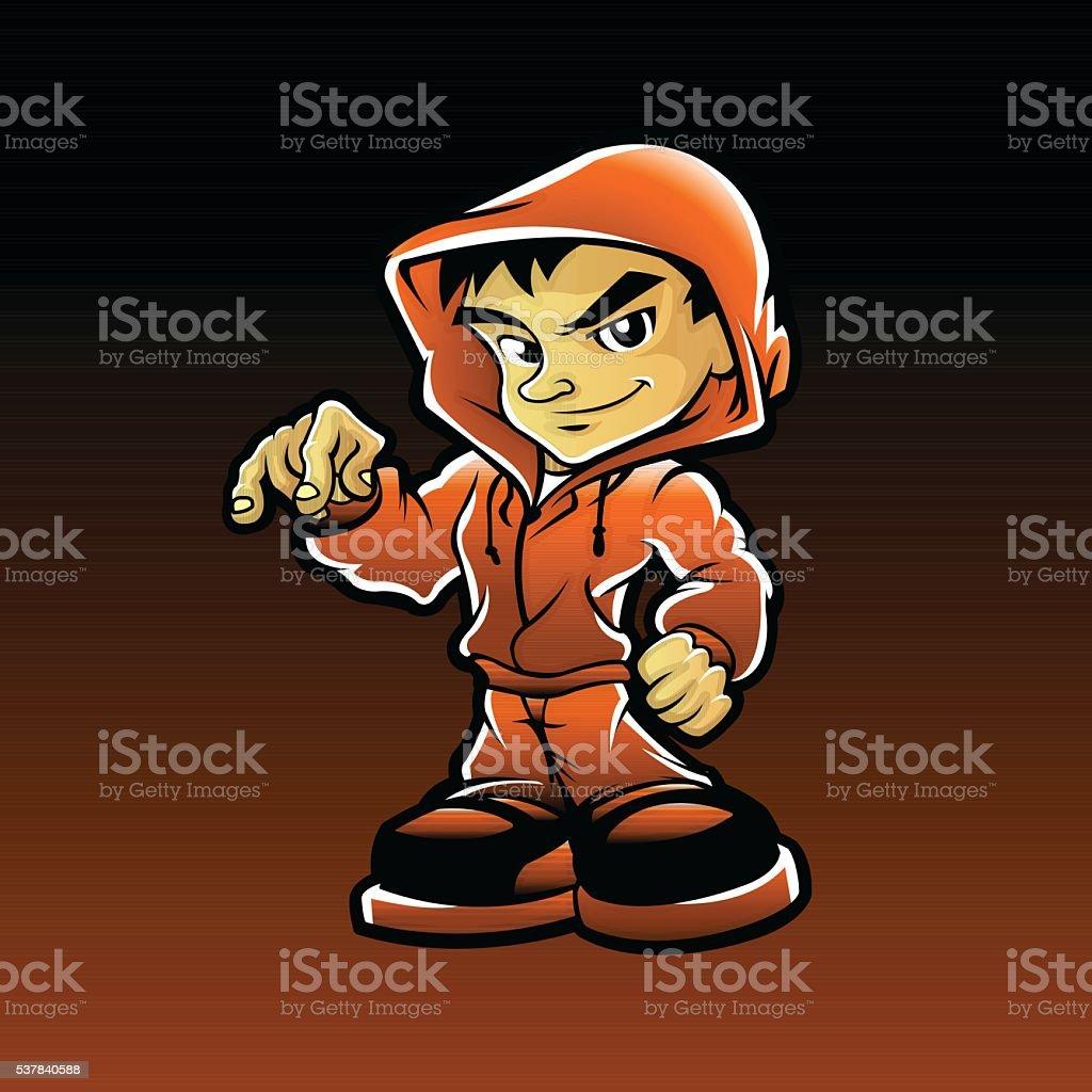Cool guy rapper vector art illustration