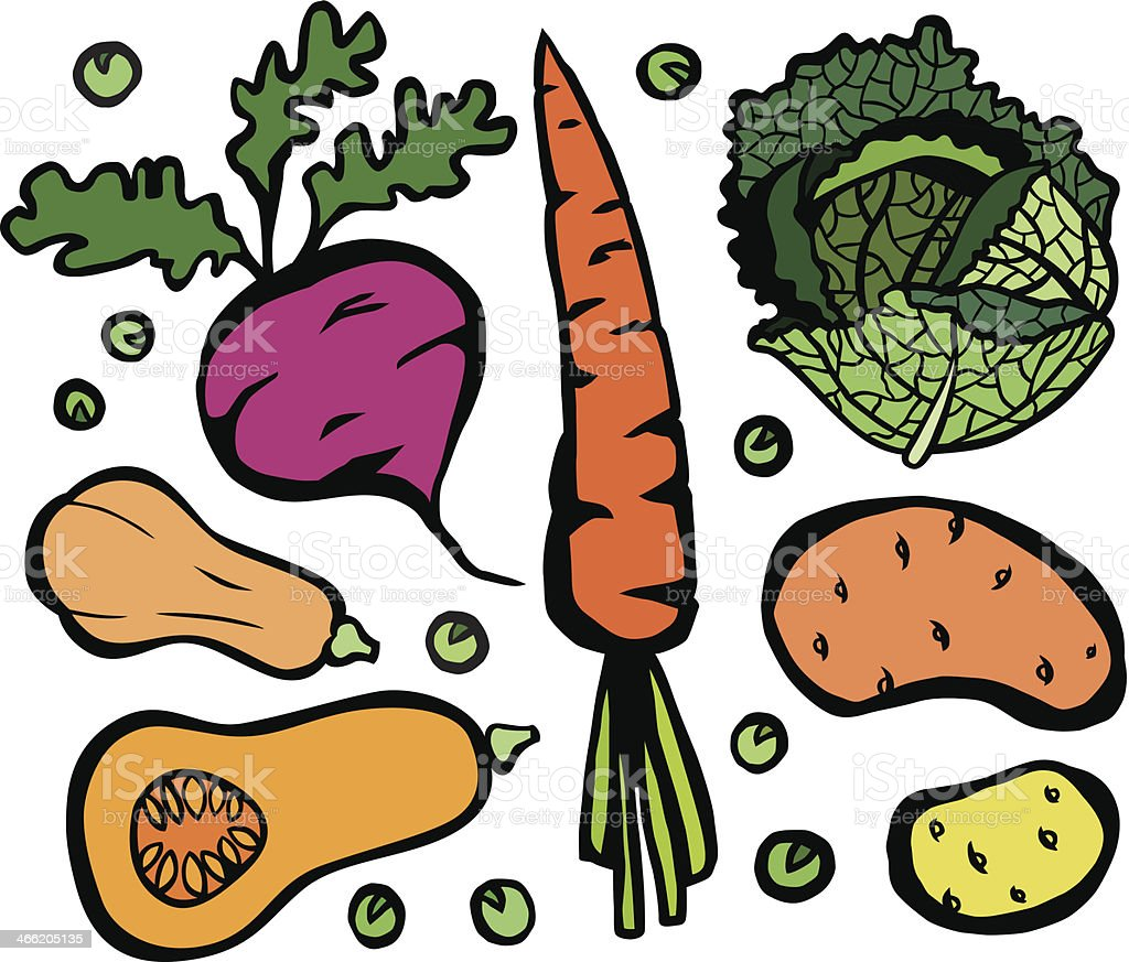 Cool Healthy Vegetable Set vector art illustration