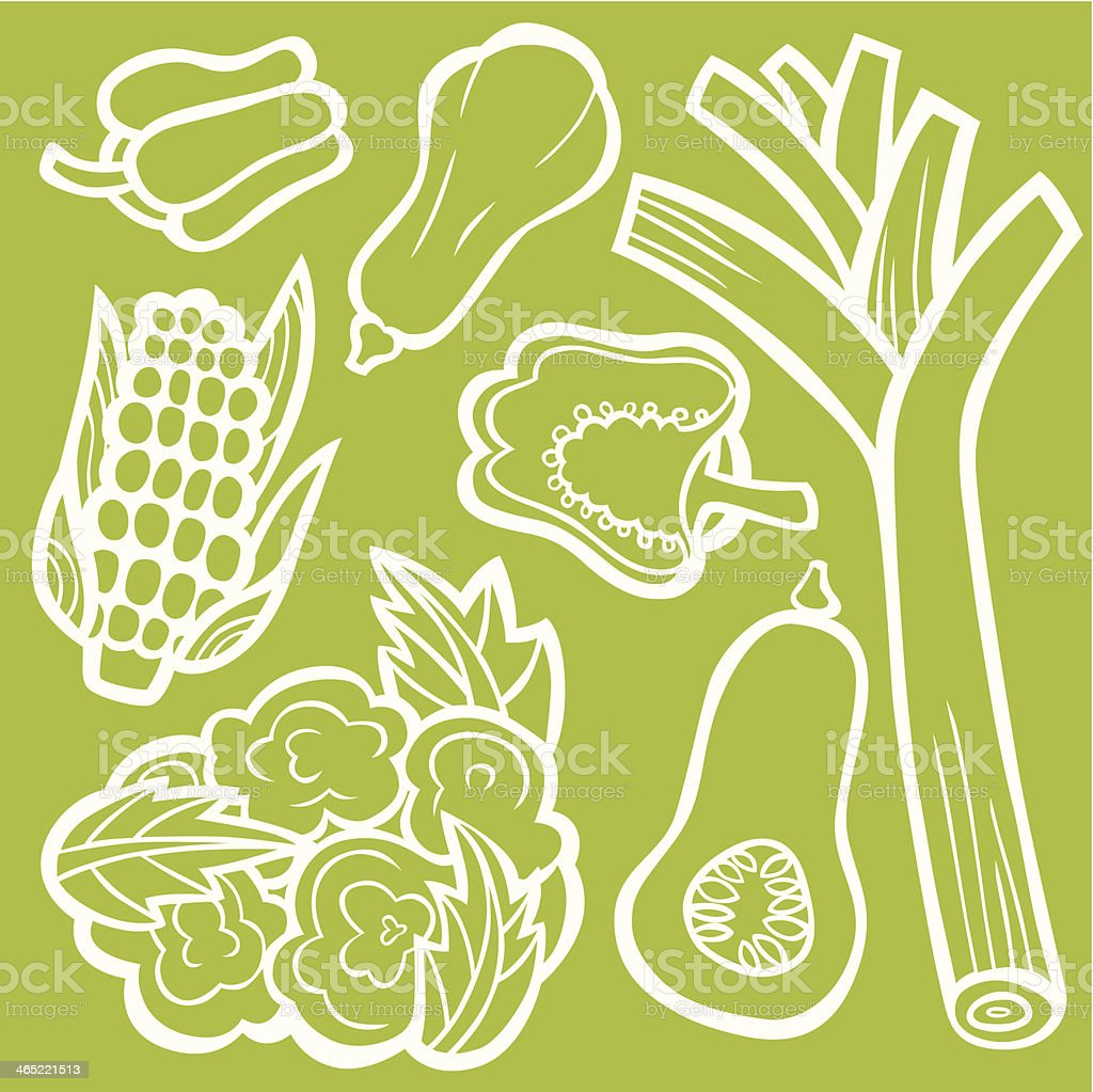 Cool Healthy Veggie Set vector art illustration