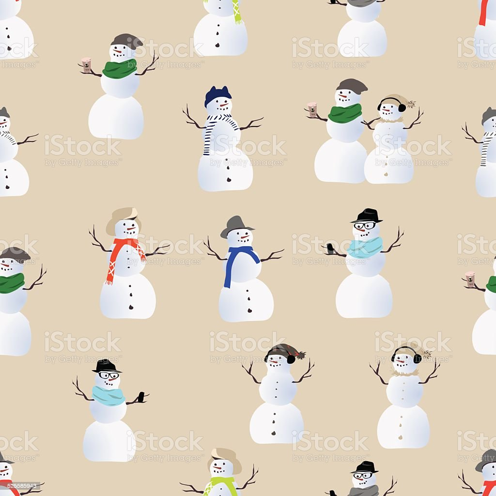 Cool hipster snowmen seamless print vector art illustration
