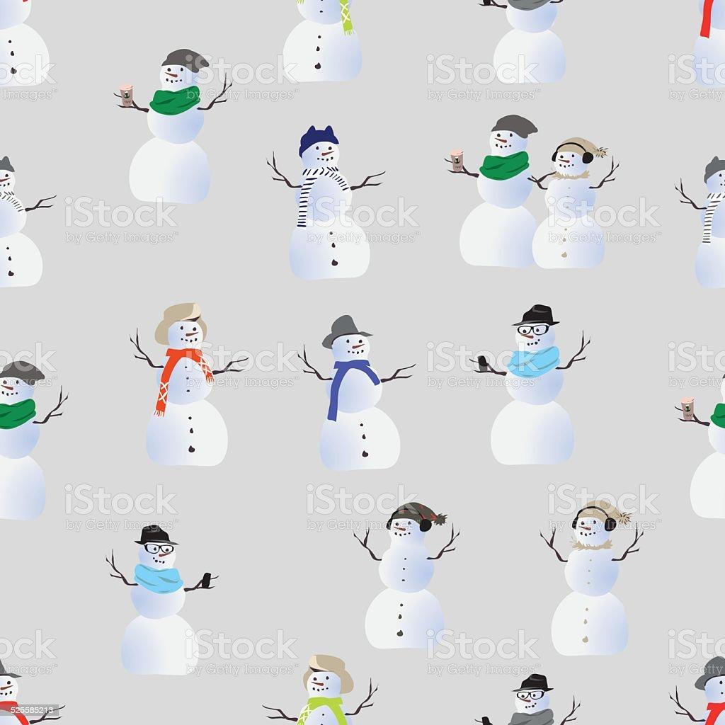 Cool hipster snowmen seamless vector print vector art illustration