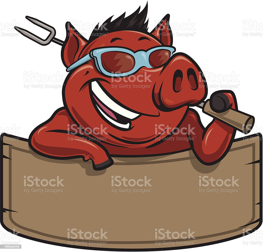 cool hog bbq and banner royalty-free stock vector art