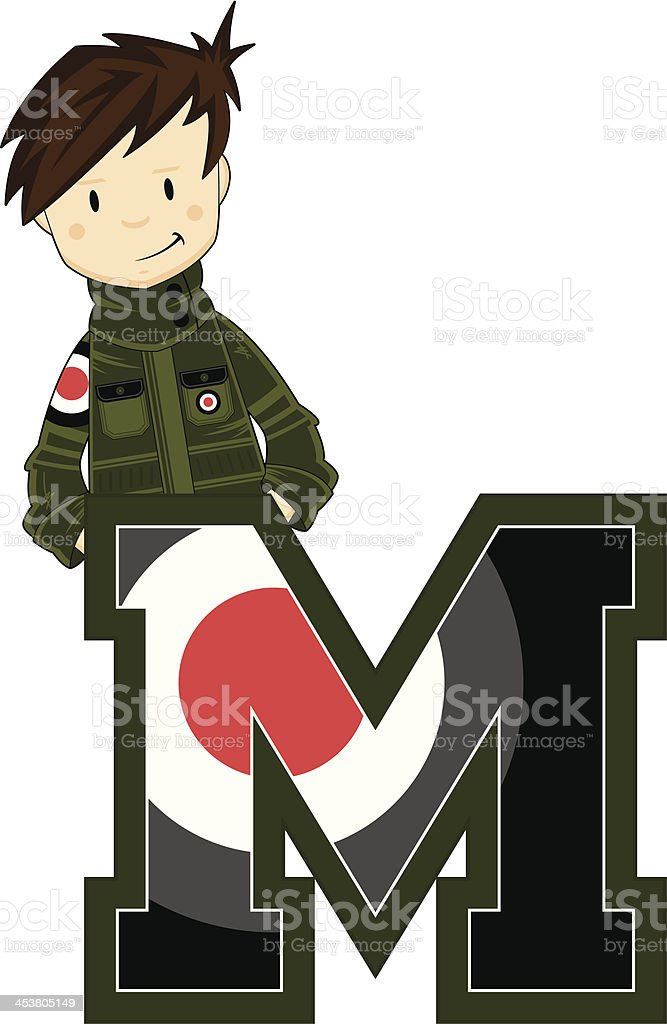 Cool Mod Boy Learning Letter M royalty-free stock vector art