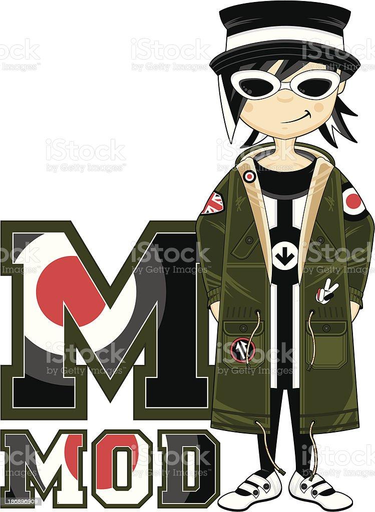 Cool Mod Girl Learning Letter M royalty-free stock vector art
