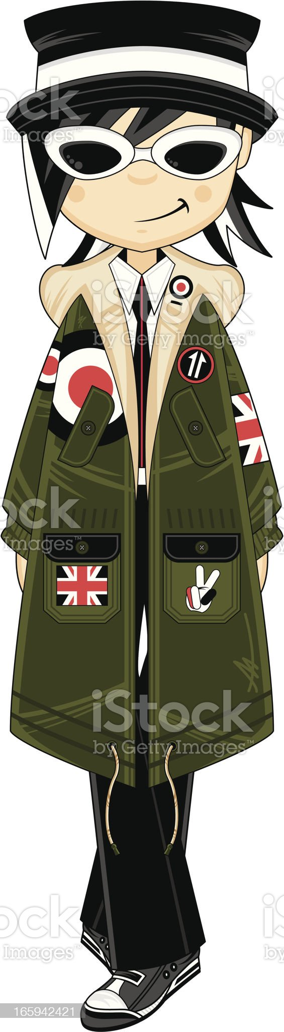 Cool Mod Girl wearing Parka Jacket royalty-free stock vector art