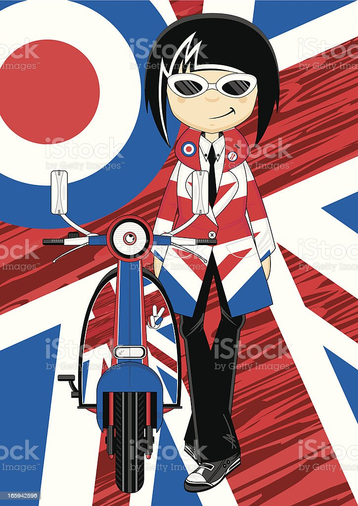 Cool Mod Girl with Retro Scooter vector art illustration