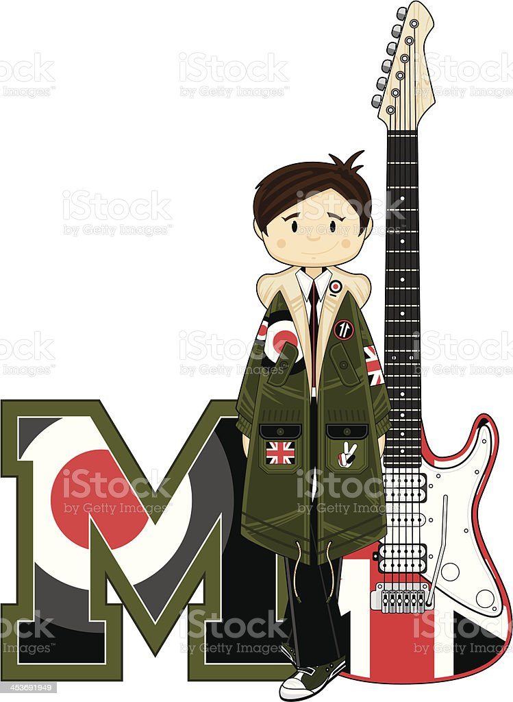 Cool Mod & Guitar Learning Letter M royalty-free stock vector art