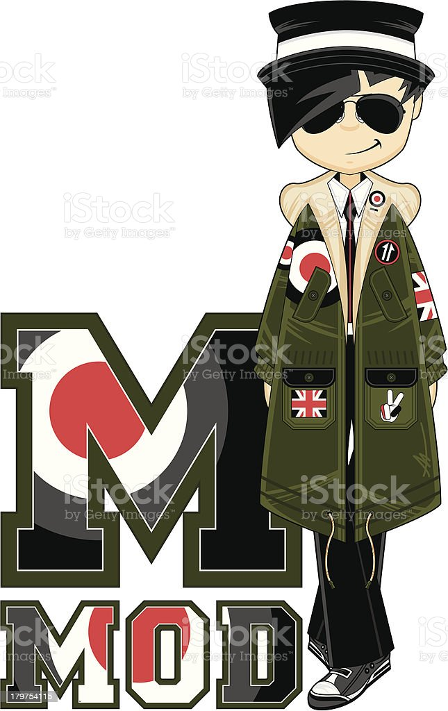 Cool Mod Learning Letter M royalty-free stock vector art