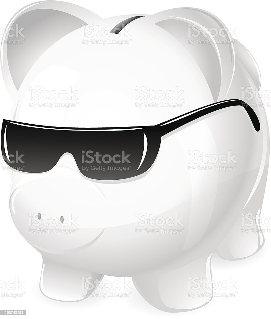 Cool Money (Piggy Bank in Sunglasses) royalty-free stock vector art