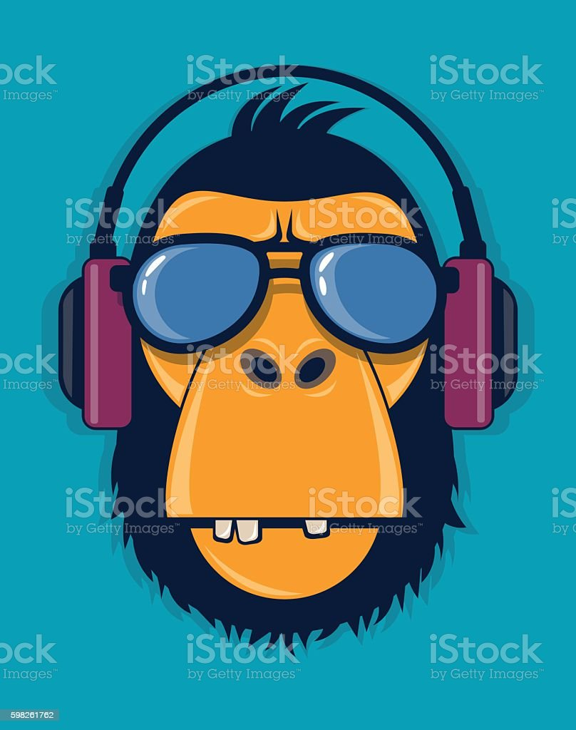 Cool monkey with glasses and headphones vector art illustration