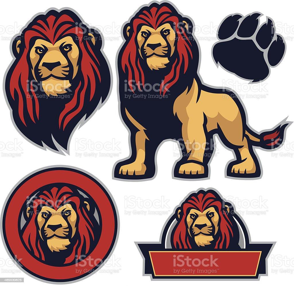 Cool pack lion vector art illustration