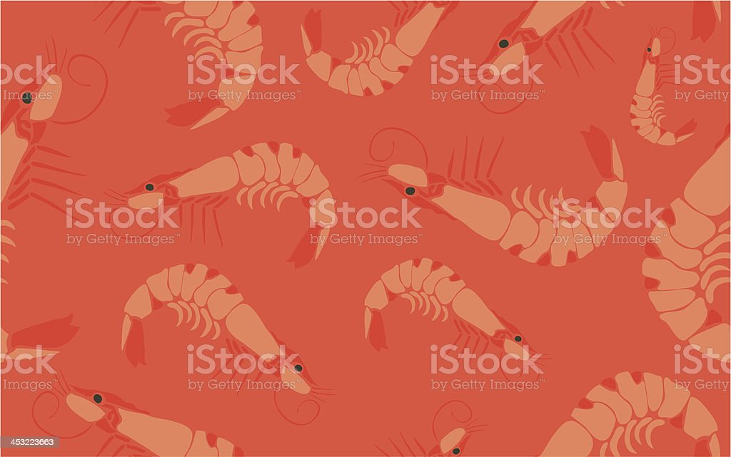 Cool Prawn Seamless Pattern on Red royalty-free stock vector art