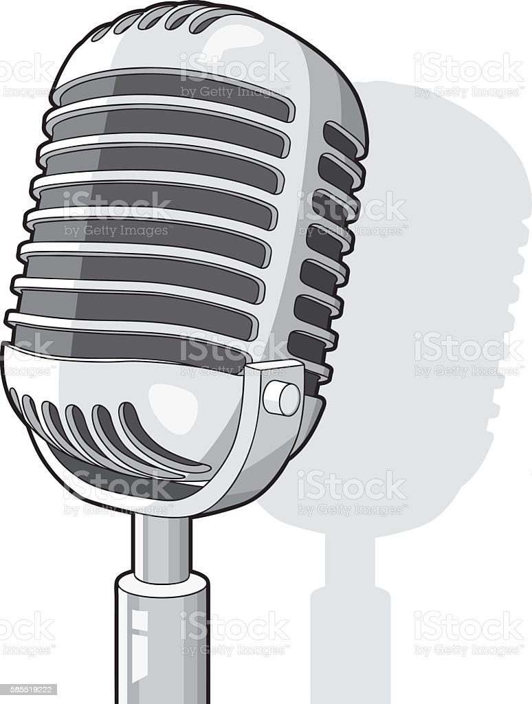 Cool radio microphone vector art illustration