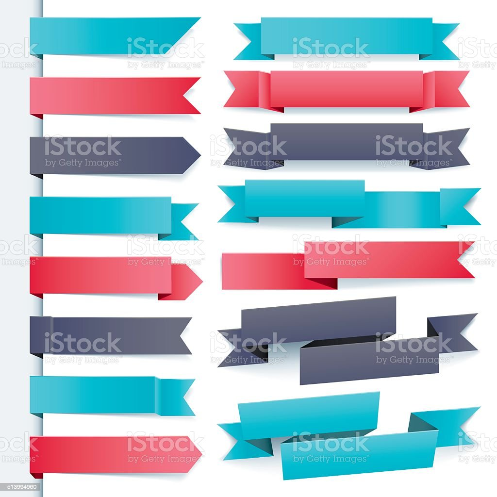 cool ribbon set vector art illustration