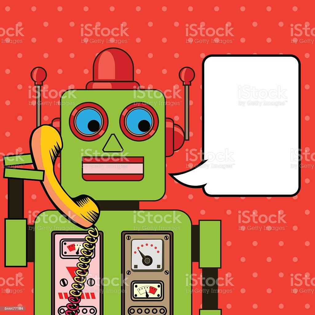 Cool Robot talking on the phone. Pop art poster. vector art illustration