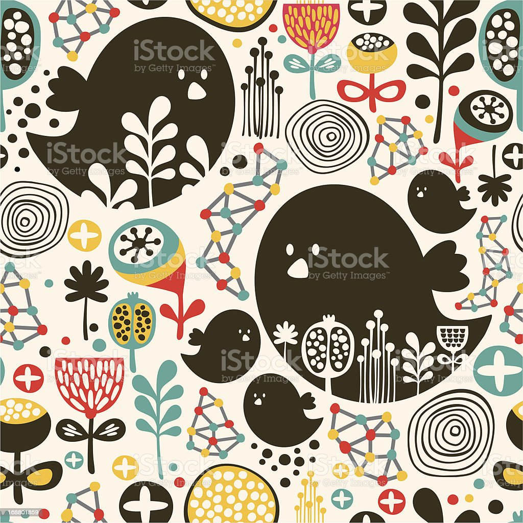 Cool seamless pattern with birds. royalty-free stock vector art