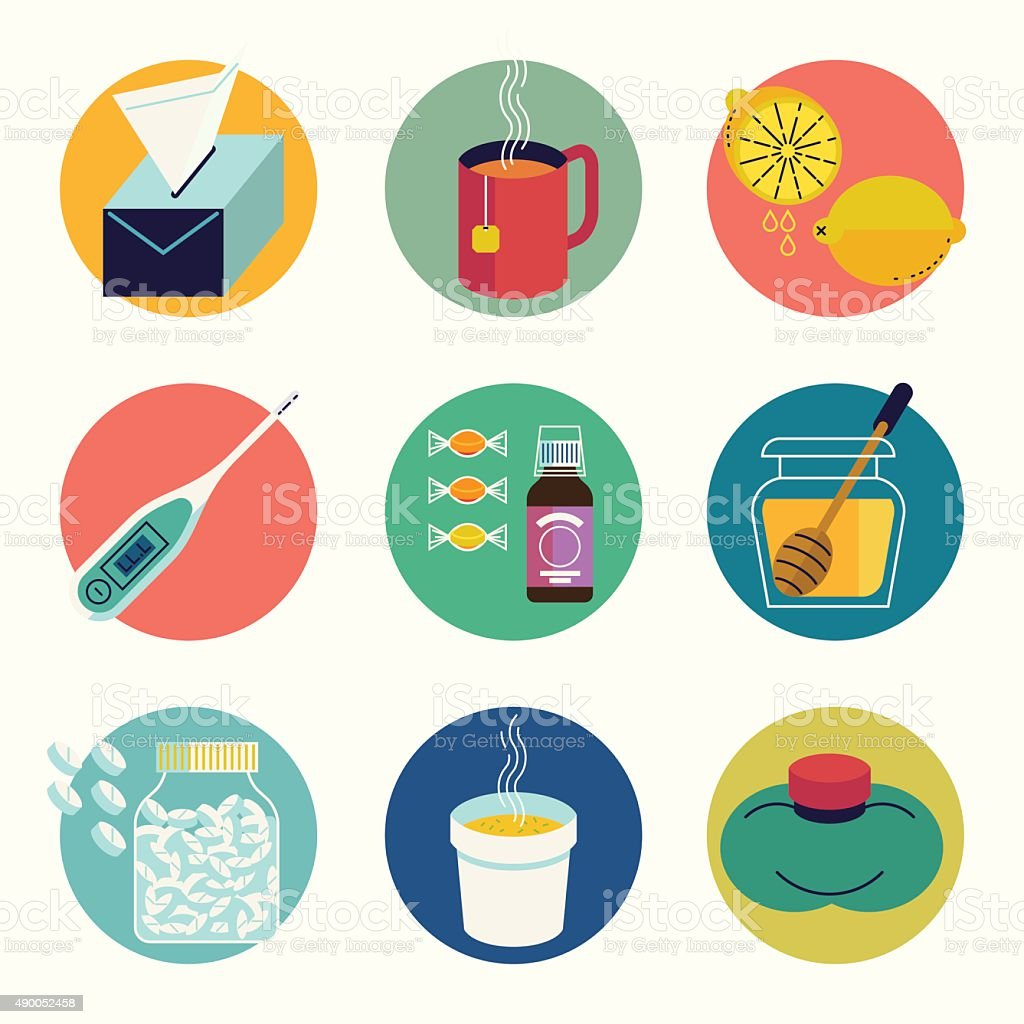 Cool set of cold and flu season round web icons vector art illustration