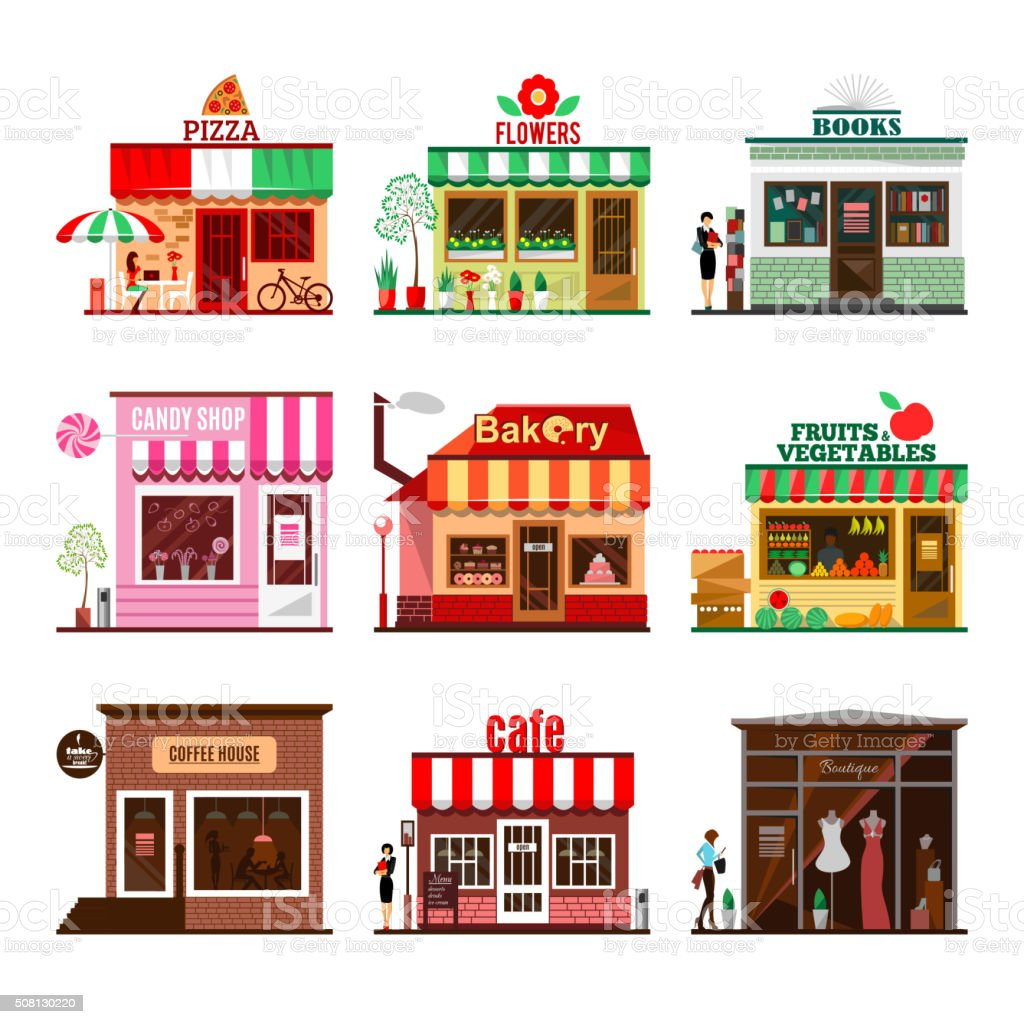 Cool set of detailed flat design city public buildings vector art illustration