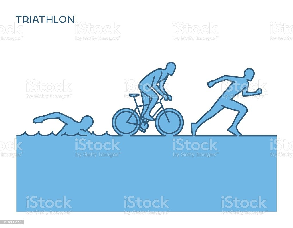 Cool silhouettes of triathletes. vector art illustration