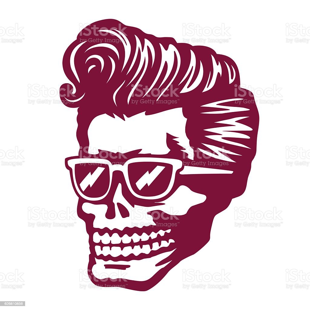 Cool skull face with rockabilly hairstyle and sunglasses vector illustration vector art illustration