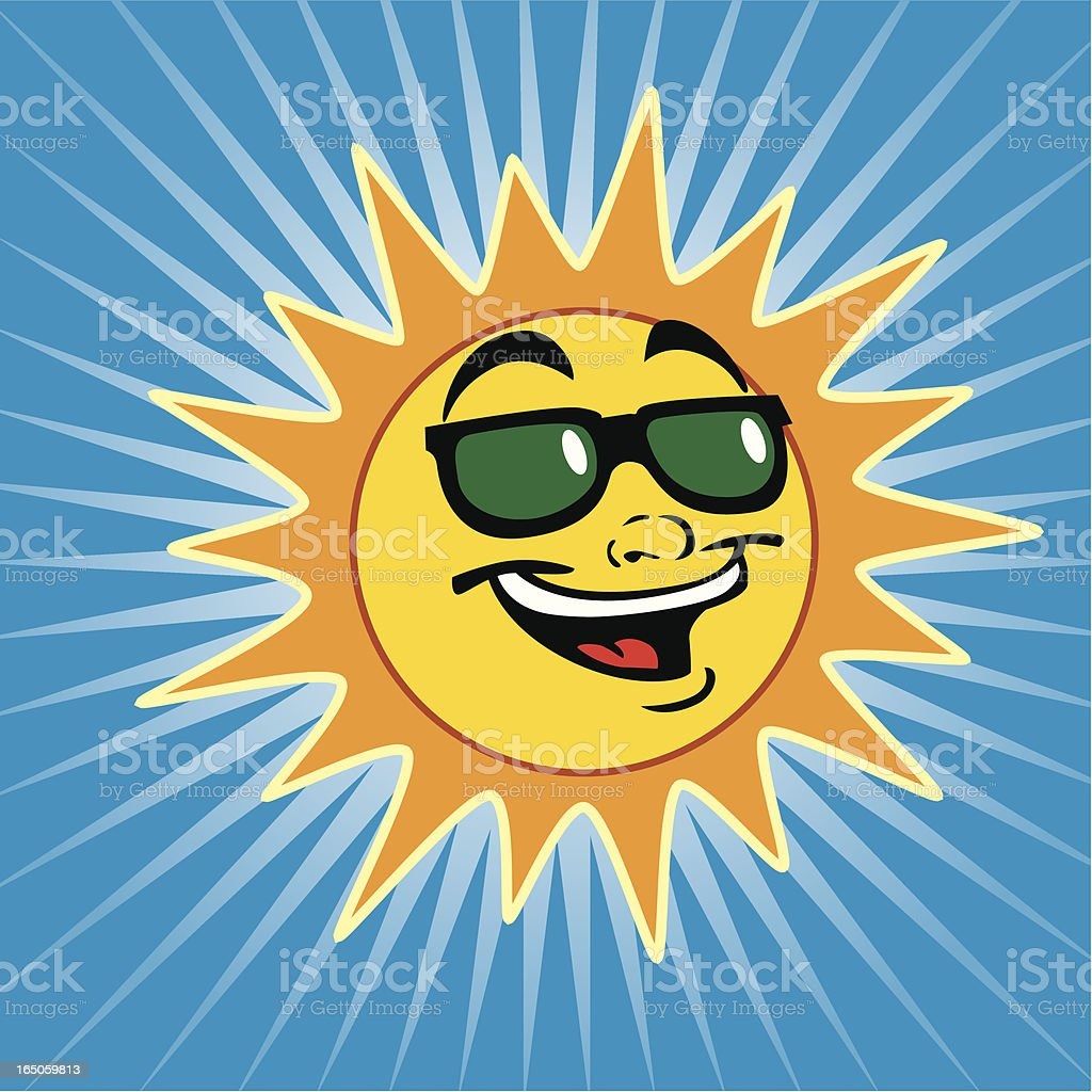 Cool Sun With Shades royalty-free stock vector art