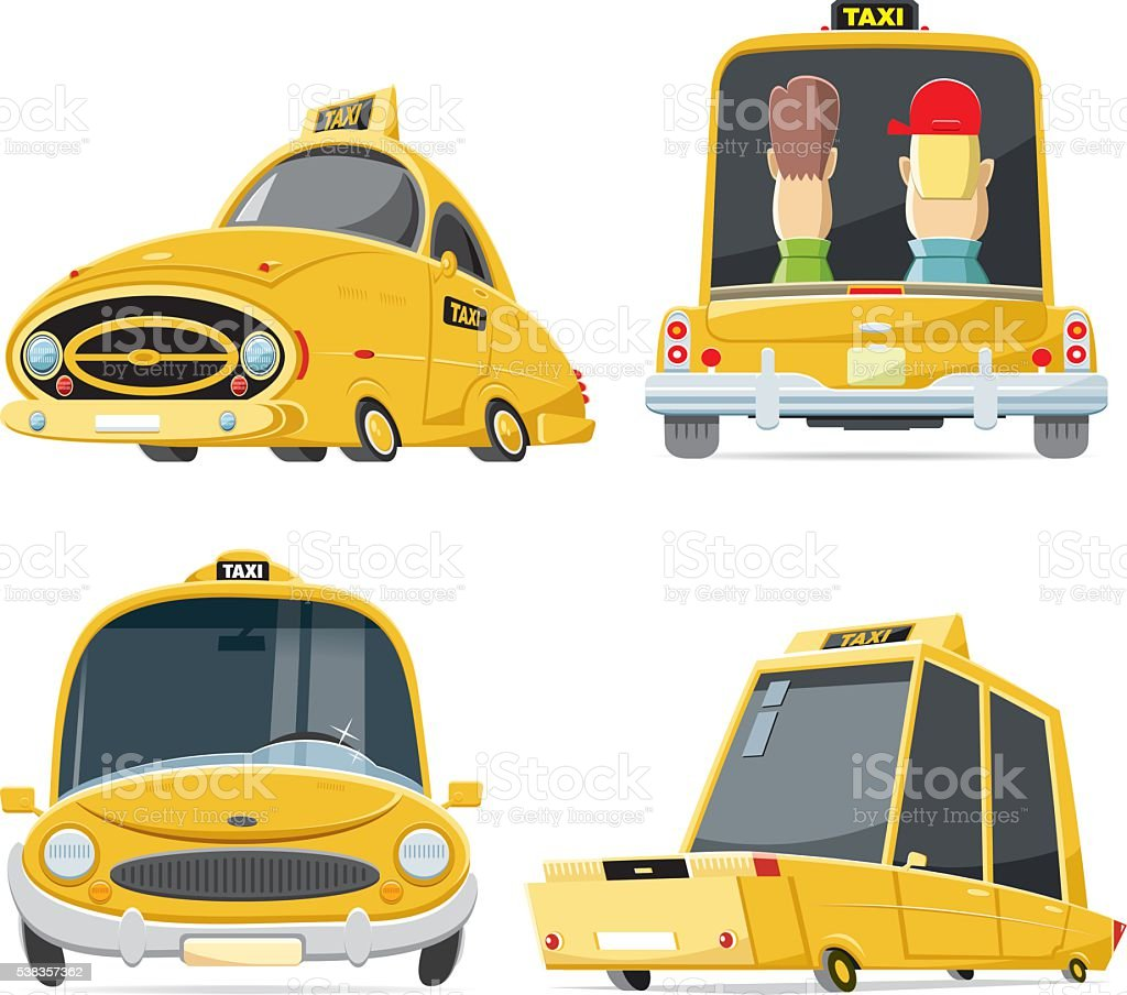 Cool taxi set vector art illustration