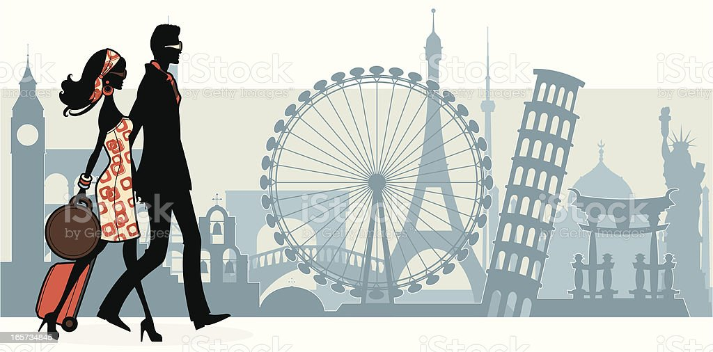 Cool Tourists vector art illustration