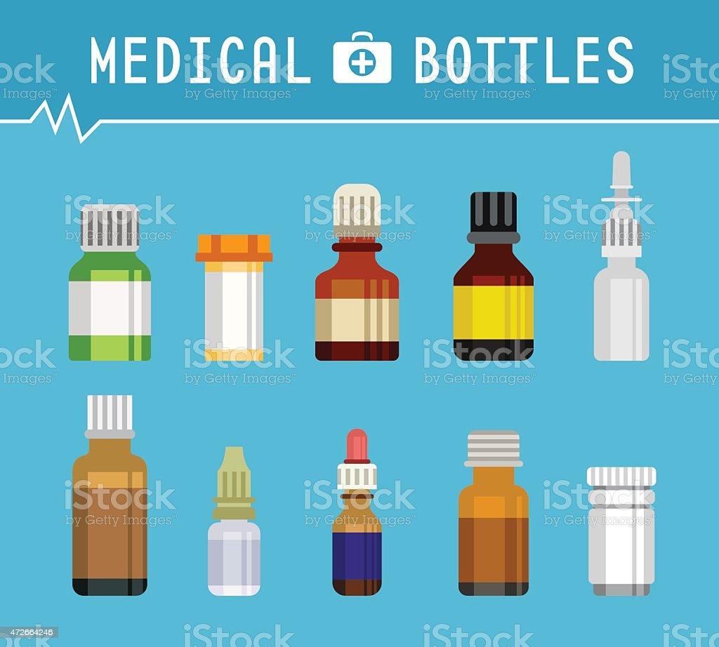 Cool Various Medication Bottles for Medical Background Graphic Design vector art illustration