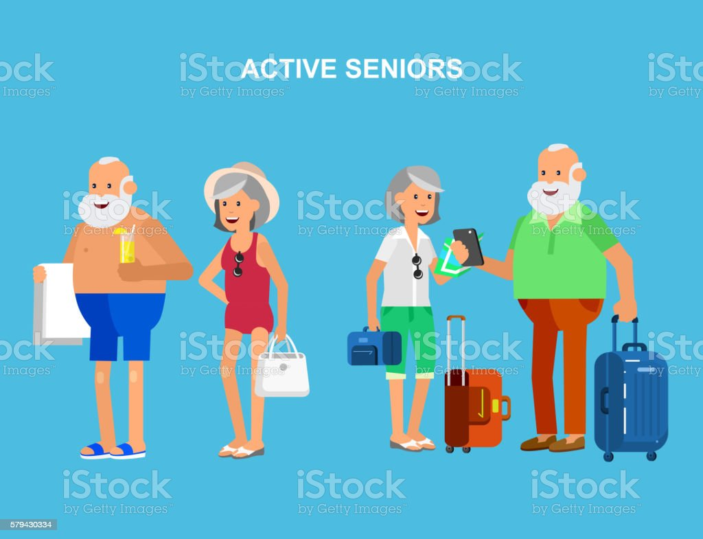 Cool vector flat character design on senior vector art illustration