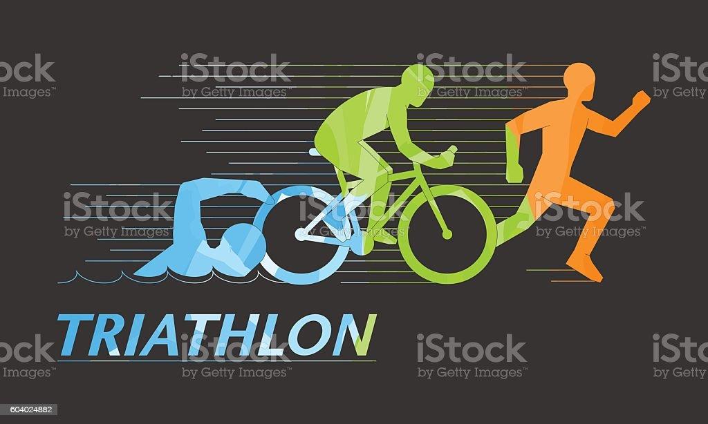 Cool vector symbol for triathlon vector art illustration