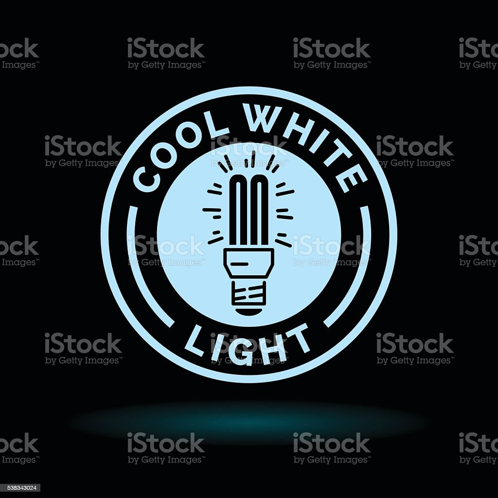 Cool white fluorescent light blue lightbulb icon symbol. vector art illustration