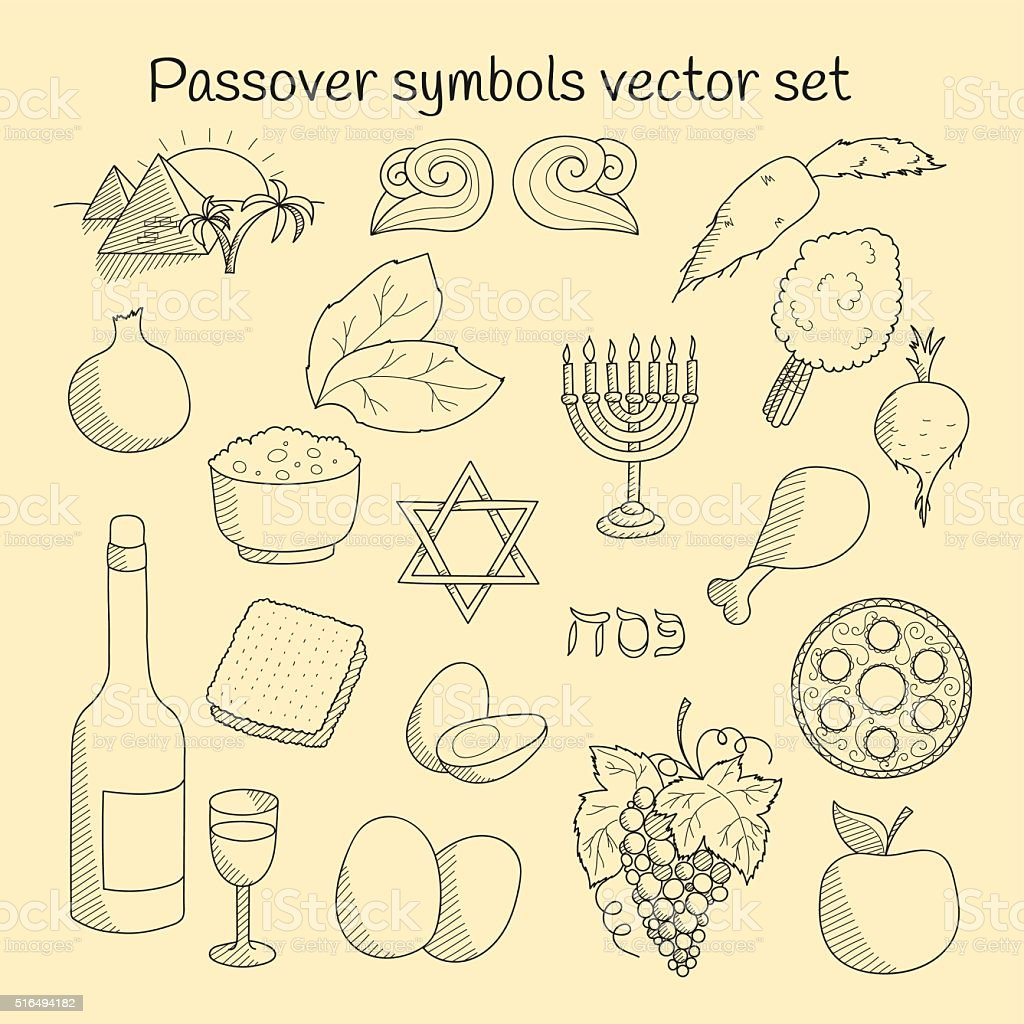 Coolection of doodle symbols of Jewish holiday Passover vector art illustration