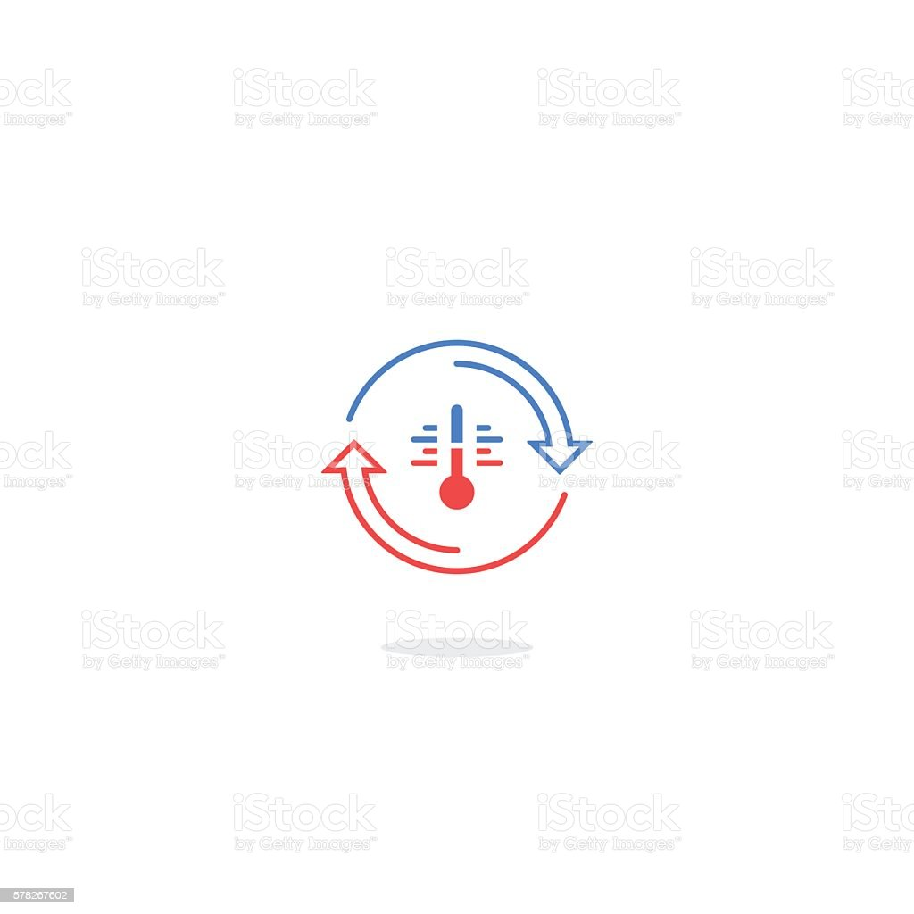 Cooling and heating systems vector art illustration
