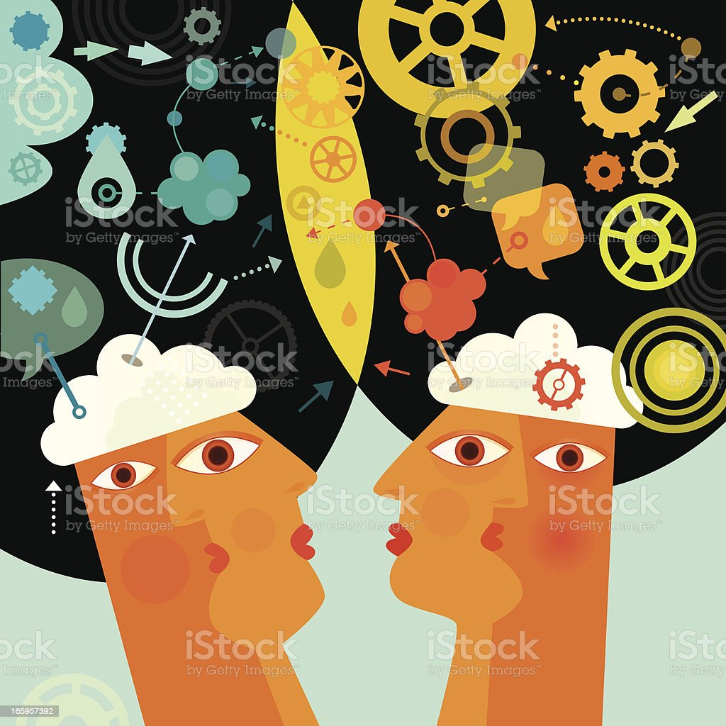 Cooperating Minds royalty-free stock vector art