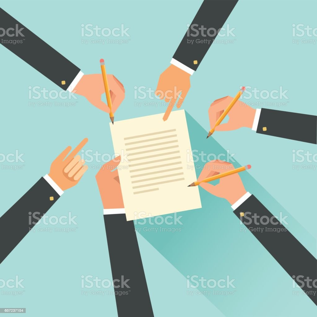 Cooperation agreement concept. Team signing a paper document vector art illustration