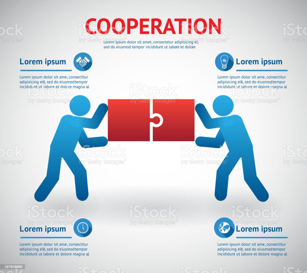 Cooperation and teamwork template vector art illustration