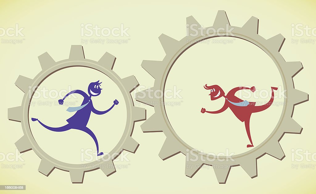 Cooperation with two people royalty-free stock vector art