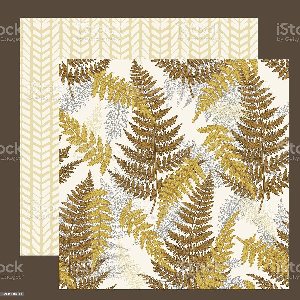 Coordinating Ferns Seamless Pattern Set vector art illustration