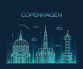 Copenhagen skyline trendy vector linear style