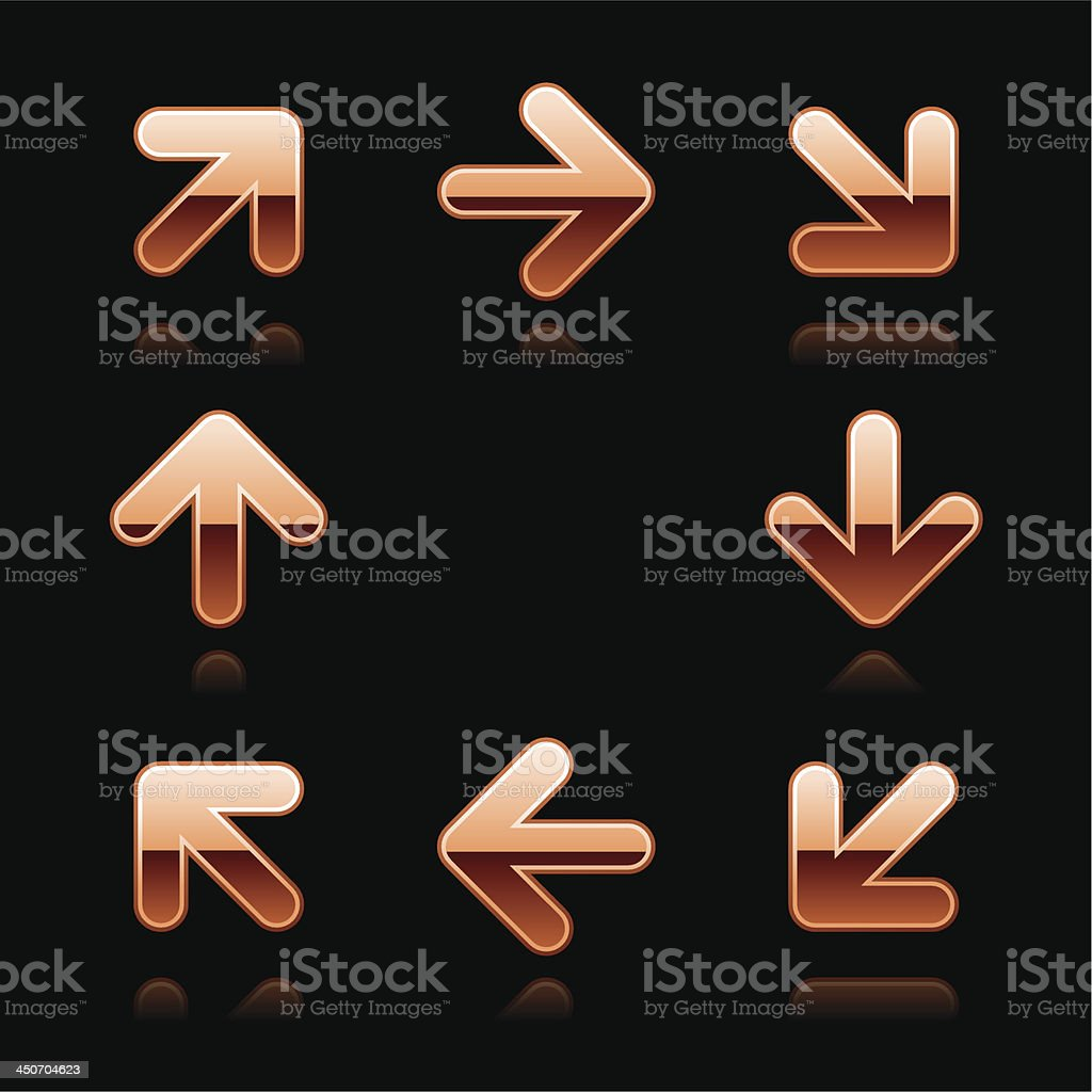 Copper arrow direction sign metal chrome icon web button royalty-free stock vector art