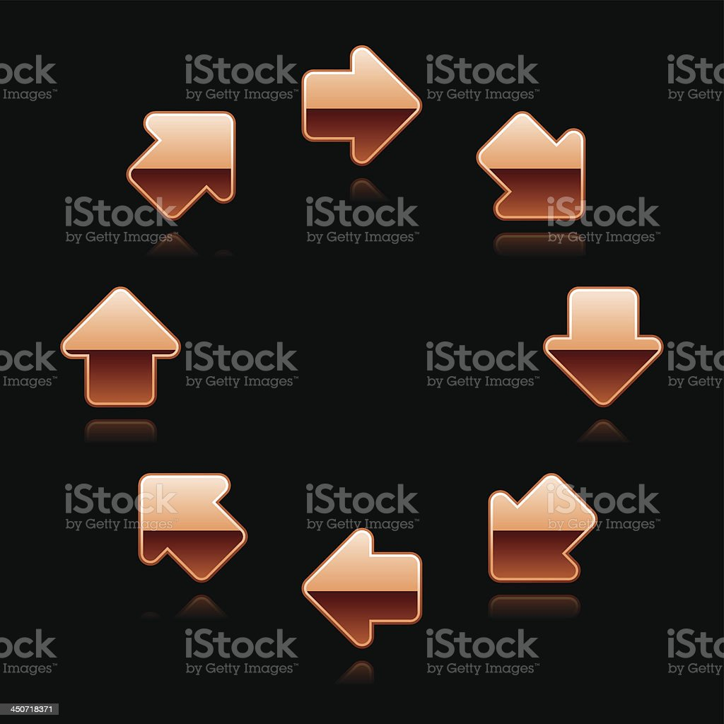 Copper arrow in circle direction sign metal chrome icon royalty-free stock vector art
