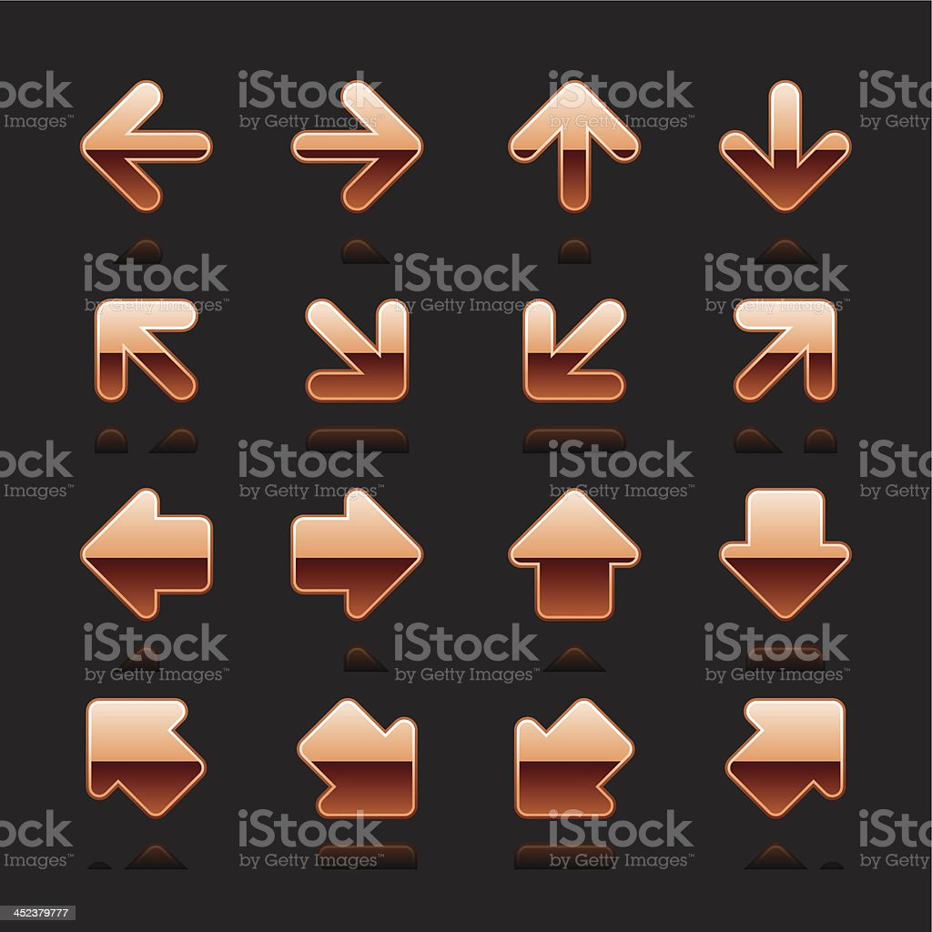 Copper arrow sign chrome pictogram direction icon navigation button royalty-free stock vector art